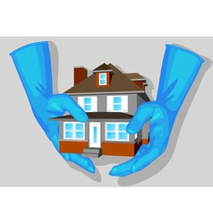 Blue gloves and house vector