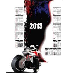 Childrens calendar with motorbike vector