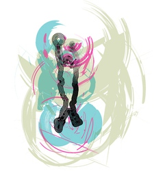 Basketball player in action vector