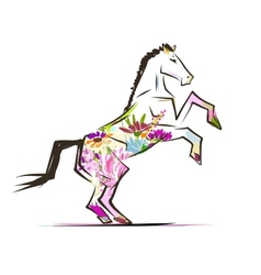 Horse sketch with floral decoration for your vector