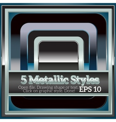 Set of shiny metallic styles for design vector