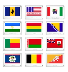 Twelve national flags on metal texture plates vector