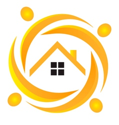 House and people logo vector