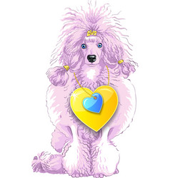 Pink poodle dog with gold heart vector