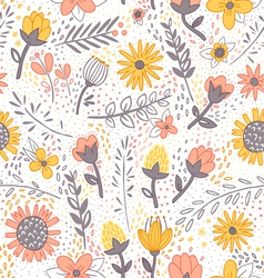 Field flowers doodle pattern vector