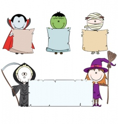 Halloween characters with empty banner vector