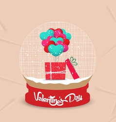 Happy valentines day with gift balloon heart globe vector