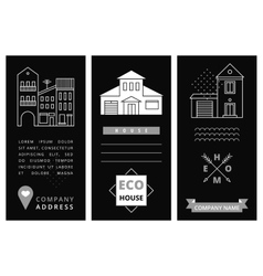 Templates business card with houses vector