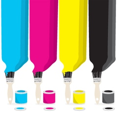 Paint brushes with cmyk colour vector