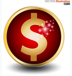 Dollar sign gold circle vector
