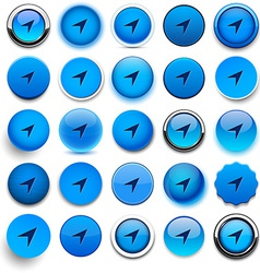 Round blue gps icons vector