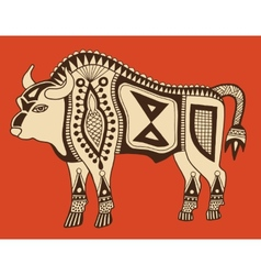 Original ethnic tribal bison drawing vector