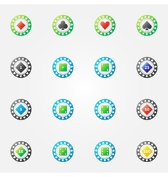 Poker chips bright signs vector