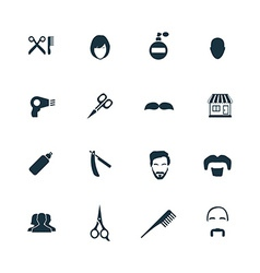 Barbershop icons set vector