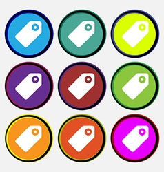 Special offer label icon sign nine multi-colored vector
