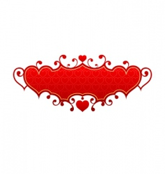 Red hearts frame vector
