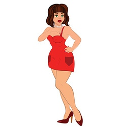 Cartoon sexy woman in mini red dress vector
