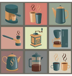 Equipment for making coffee icons set vector