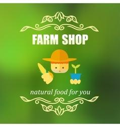 Vintage farm shop badge vector