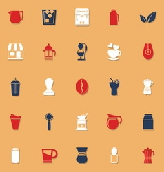 Coffee and tea classic color icons with shadow vector