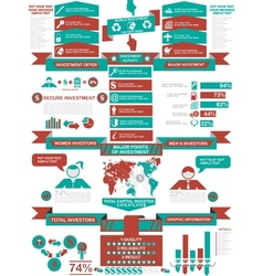 Infographic demographics business red vector