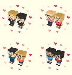 Romance block isometric cartoon character vector