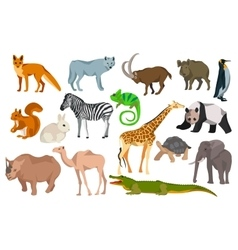 Big set different animals goat wild boar panda vector