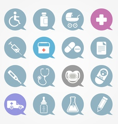 Medicine web icons set in color speech clouds vector
