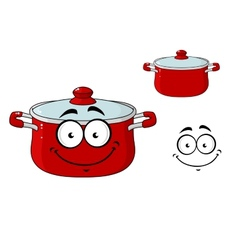 Little red cartoon cooking saucepan with a lid vector