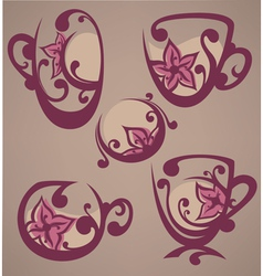 Floral tea cups and drink vector