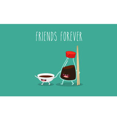 Soy sauce and sticks vector