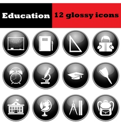 Set of education glossy icons vector