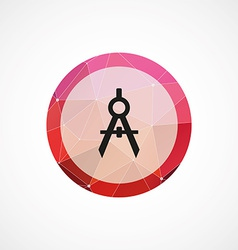 Compasses circle pink triangle background icon vector