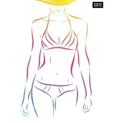 Girl in bikini on a white background vector