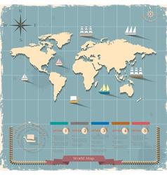World map in retro style design vector