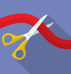 Icon of scissors cutting the ribbon flat style vector