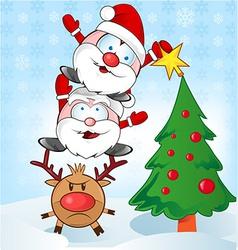 Santa claus whit reindeer cartoon vector