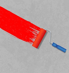 Paint roller and a gray concrete wall vector