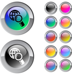 Global search multicolor round button vector