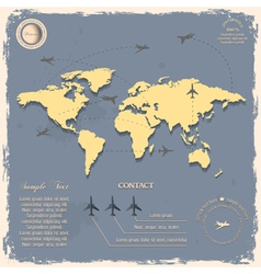 World map with aircrafts for design in vintage vector