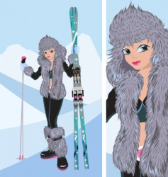 Girl snowboard vector