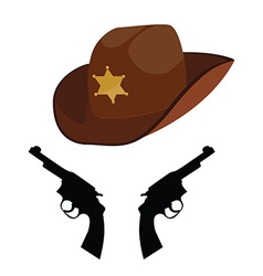 Sheriff hat and revolver vector