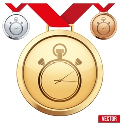 Gold medal with the symbol of a stopwatch inside vector