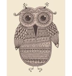 Original ethnic owl ink drawing vector
