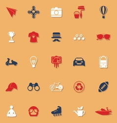 Hipster classic color icons with shadow vector