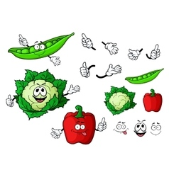 Cartoon cauliflower pepper and pea pod vegetables vector