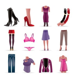 Woman and female clothes icons vector