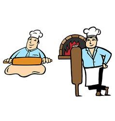 Baker makes bread vector