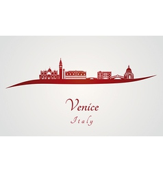 Venice skyline in red vector