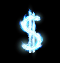 Dollar sign is lit with a blue flame vector